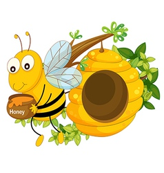 A bee holding pot of honey near the beehive vector