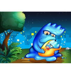 A monster and her child across the village vector image