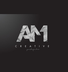 Am a m letter logo with zebra lines texture vector
