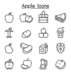 apple icon set in thin line style vector image