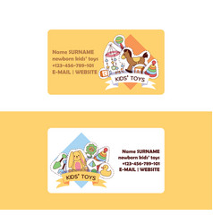Baby toys business card cartoon kids games vector