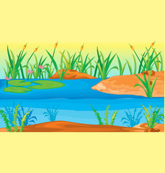 Background scene with water lily in pond vector