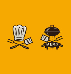bbq barbecue logo or label menu design for cafe vector image