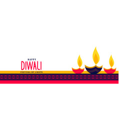 Beautiful happy diwali long banner vector