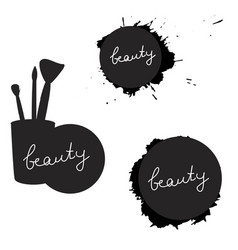 Beauty inscription on various silhouettes black vector