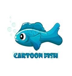 blue cartoon fish swims in water vector image