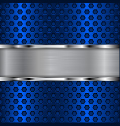 Blue metal perforated background with chrome shiny vector