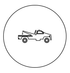 breakdown truck black icon outline in circle image vector image