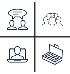 Business icons set collection of cooperation vector