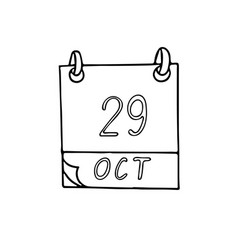 Calendar hand drawn in doodle style october vector