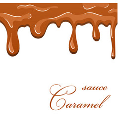 caramel sauce 3d flowing caramel liquid isolated vector image