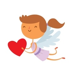 Cartoon cute cupid angel smile girl kid vector