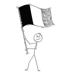 Cartoon man waving flag belgium or france vector