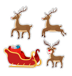 cartoon stickers woth sleigh reindeers vector image