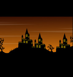 Castle on the hill landscape halloween style vector