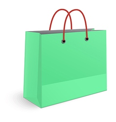 Classic shopping green paper bag with red grips vector image