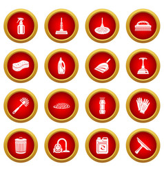 cleaning icons set simple style vector image