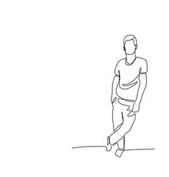 Continuous one line man standing and lean against vector