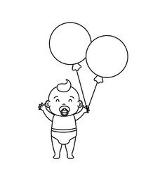 cute and little boy baby with balloons helium vector image