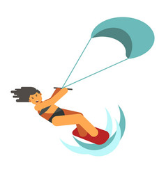 dark-haired woman practices kiteboarding flat vector image