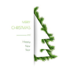 decorative tree frame design with pine branches vector image