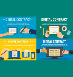 digital contract banner set flat style vector image