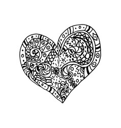 Doodle hand drawn heart coloring page book vector