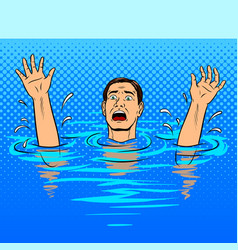 Drowning man pop art style vector