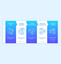 Early signs alzheimer onboarding template vector