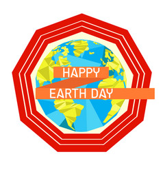 earth day label with a polygonal planet vector image