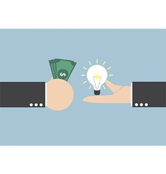 Exchange light bulb idea and money vector image