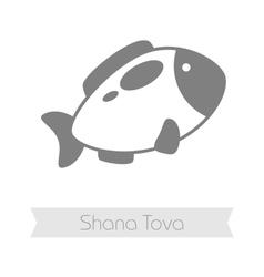 Fish Rosh Hashanah icon Shana tova vector