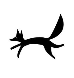 Fox silhouette funny animal vector