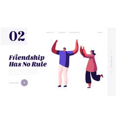 friendship between man and woman website landing vector image