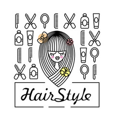 Girl with a beautiful haircut and icons vector