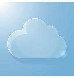 Glossy blue cloud icon with light vector image