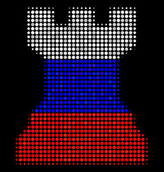 Halftone russian chess tower icon vector
