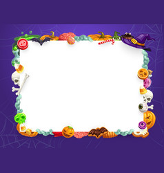 halloween pumpkins and trick or treat sweets frame vector image