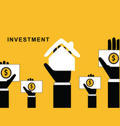 hands with home and money vector image