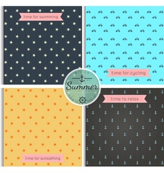 Hipster background summer time pattern set vector