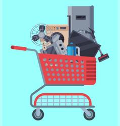 home appliances shopping basket flat vector image
