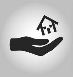 Icon hand holding house isolated vector
