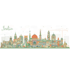india city skyline with color buildings delhi vector image