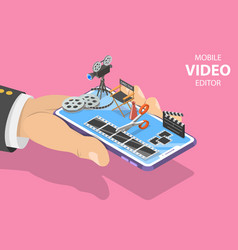 isometric flat concept video editing app vector image