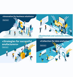 isometric set article for business solutions vector image