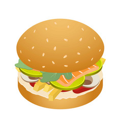 king of burger icon isometric style vector image