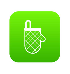kitchen protective glove icon digital green vector image