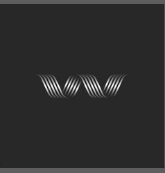 Letter w logo initial creative monogram metallic vector