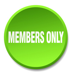 Members only green round flat isolated push button vector