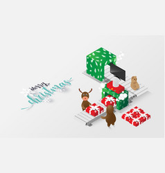 merry christmas isometric reindeer and gift vector image